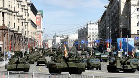 Military parade near the Kremlin, Moscow, Russia. stock footage