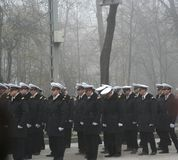 Military parade - officers. Navy officers preparing to march for the national day Royalty Free Stock Photos
