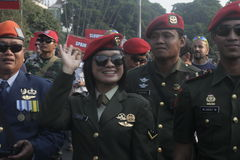 Military parade participants parachuting in town solo, central java Royalty Free Stock Photography