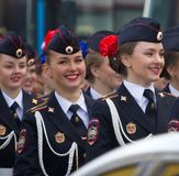 Military parade russian girls. Dress uniform of Ministry of internal Affairs (Home Department). Russia, Saint Petersburg - May 9, 2017: Military parade and girls royalty free stock photography