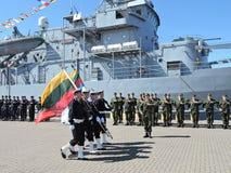 Military parade of seafarers,Lithuania. Military parade of seafarers before oath in Klaipeda, Lithuania stock photo