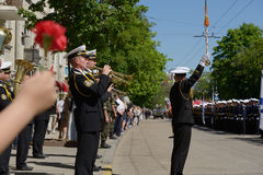 Military parade in Sevastopol, Ukraine. Sevastopol, Ukraine - May 9, 2013: Military parade in honour of Victory Day in Sevastopol, Crimea, Ukraine on May 9, 2013 royalty free stock image