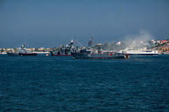 Military parade of ships in the Navy Day in Russia in Sevastopol Royalty Free Stock Image
