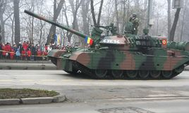 Military parade - tank unit. Military tank unit marching for the national day Royalty Free Stock Photo