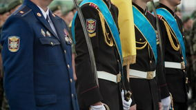 Military parade Ukraine in the rain stock footage
