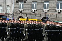 Military parade in the Ukrainian capital royalty free stock images