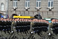 Military parade in the Ukrainian capital royalty free stock image