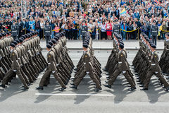 Military parade for the Ukrainian Independence Day. Royalty Free Stock Photography