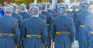 Military parade in the winter in Russia. Military parade in the winter Royalty Free Stock Photography