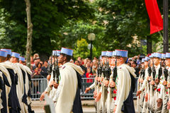 Military parade (Defile) during the ceremonial of french national day, Champs Elysee avenue. Stock Images