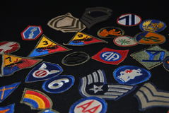 Military patches. 1940's world war II military patches Royalty Free Stock Image