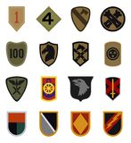 Military patches vector. Vector set collection of 16 famous military service patches isolated on white background. Editable eps file available Stock Images