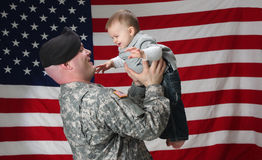 Military Patriot and Son Stock Image