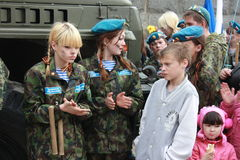 Military patriotic club prepare for performance in front of city residents. Victory Day on May 9. Stock Images