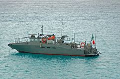 Military patrol boat in gray color. Military sea border guard in cutter boat with green,white and red flag (Mexico Stock Photo