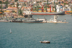 Military patrol boat and pleasure craft in the Varna Bay Stock Image
