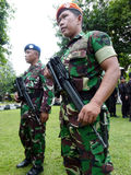 Military patrol. Military briefing prior to a patrol in anticipation of a terrorist attack in the city of Solo, Central Java, Indonesia stock photos