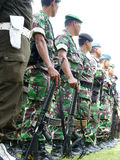Military patrol. Military briefing prior to a patrol in anticipation of a terrorist attack in the city of Solo, Central Java, Indonesia stock photography