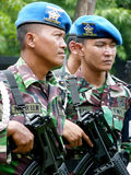 Military patrol. Military briefing prior to a patrol in anticipation of a terrorist attack in the city of Solo, Central Java, Indonesia stock image