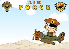 Military patrol cartoon. Army boy on military plane , vector cartoon illustration. EPS 10 Stock Image