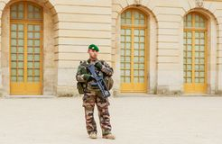 Military patrol. Versailles. Freance Stock Photos