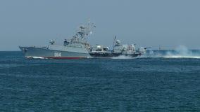 Military patrol warship in the sea