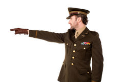 Military personnel pointing away Royalty Free Stock Photo