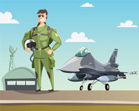 Military pilot and jet fighter on runway. Illustration Stock Images