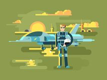 Military pilot man. Aviation and aircraft, airplane and aviator, airman job, vector illustration stock illustration
