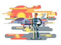 Military pilot man. Aviation and aircraft, airplane and aviator, airman job, vector illustration Royalty Free Stock Images