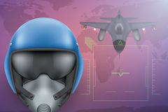 Military Pilot vector background. Background of Military Pilot and Bomber aircraft. Air Force Helmet on map. Editable Vector Illustration Stock Images