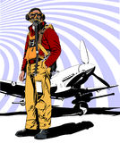 Military pilot WW 2 vector illustration