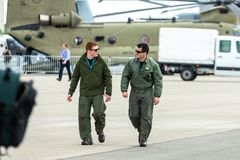 Military pilots on the airfield. Royalty Free Stock Photo