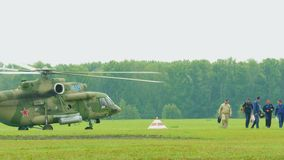 Military pilots are on the airfield stock footage