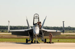 Military pilots preparing for flight Stock Photography