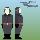 Military pilots of the Wehrmacht in World War II. Military aircraft and military pilots of the Wehrmacht in World War II. The illustration on a white background Royalty Free Stock Photo