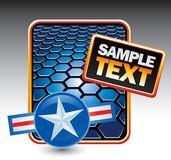 Military pin on blue hexagon banner Stock Photo