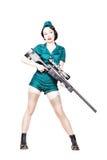 Military pin-up woman Stock Photo