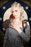 Military pin up woman taking airplane pilot oath Royalty Free Stock Photography