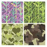 Military Pixelate Seamless Pattern Set with Grass. Camouflage Background. Camo Fashion Texture. Army Uniform Royalty Free Stock Images