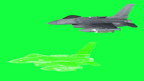 Military plane F-16 , rotate animation , wireframe render. green screen footage.  stock video