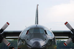 Military Plane. A front facing photo taken on a military transport cargo plane Stock Images