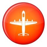 Military plane icon, flat style. Military plane icon in red circle isolated on white background vector illustration Royalty Free Stock Photography