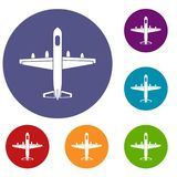 Military plane icons set. In flat circle reb, blue and green color for web Stock Images