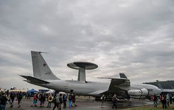 Military plane on NATO days. A military plane on a runway. NATO days in Czech Republic Stock Photos