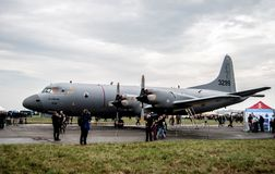 Military plane on NATO days. A military plane on a runway. NATO days in Czech Republic Royalty Free Stock Photo