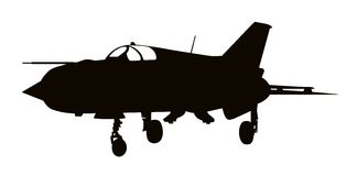 Military plane silhouette. Vector silhouette of Mig-21 Fishbed  jet fighter aircraft. Separate layers Royalty Free Stock Photos