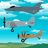 3 military planes flying together with clouds embroidery Royalty Free Stock Image