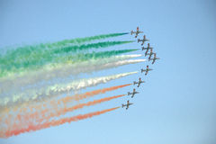 Military planes during a show Royalty Free Stock Photo