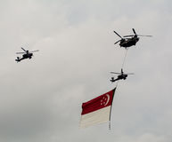 Military planes with the Singapore flag in the air Stock Photography